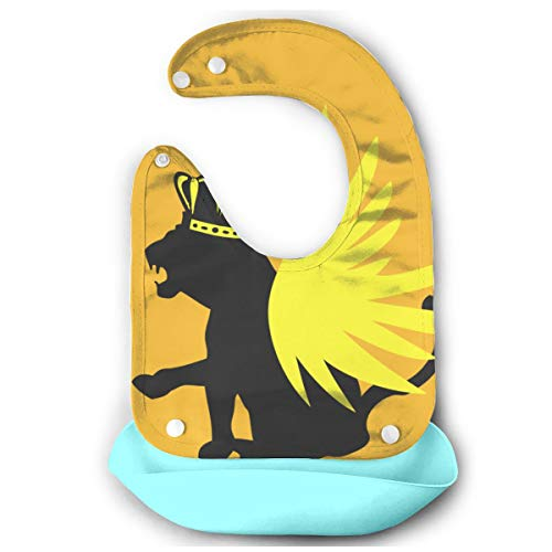 - Panther With Crown And Wings Soft Waterproof Silicone Baby Bib For Toddlers