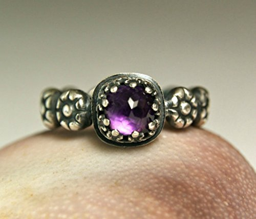 (Sterling Silver Cushion Cut Amethyst Stacking Ring)