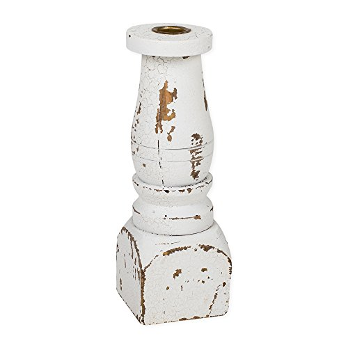 Americana Candle Holder - Crackle Distressed White Spindle 9 x 3 Large Wood Taper Candle Holder