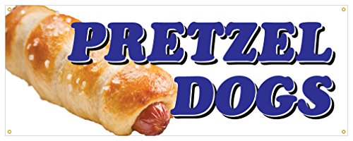 Onion Pretzel (Pretzel Dogs Banner Salty Baked Hot Dog Onions Concession Stand Sign 18x48)