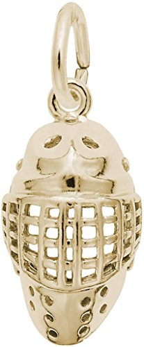 Rembrandt Hockey Goalie Mask Charm - Metal - 14K Yellow - Goalie Hockey Gold Charm