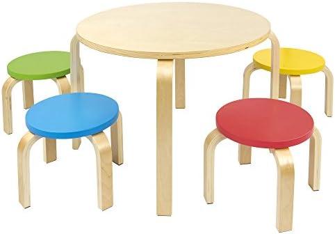 Leomark Mesa Redonda de Madera para niños de 4 y sillas de Colores ...