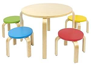 Mesa redonda de madera para ni os de 4 y sillas de colores for Mesas de colores para ninos