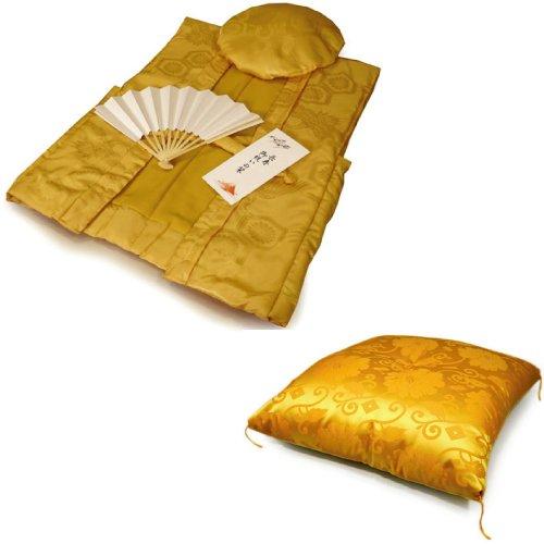 黄色ちゃんちゃんこ(綸子柄シルク)米寿4点セット ちゃんちゃんこ頭巾扇子座布団 B008CMTGXK