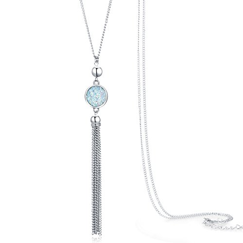Jude Jewelers Vintage Long Sweater Necklace Chain Pendant Tassel Bohemian Classical Vintage Style (Light Blue)