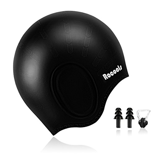 Rocools Waterproof Silicone Swimming Cap For Long Hair Keeps Hair with 3D Ergonomic Design Ear Pockets for Adult Woman and Men with Nose Clip & Ear Plugs - Swim Cap Ears Covers That