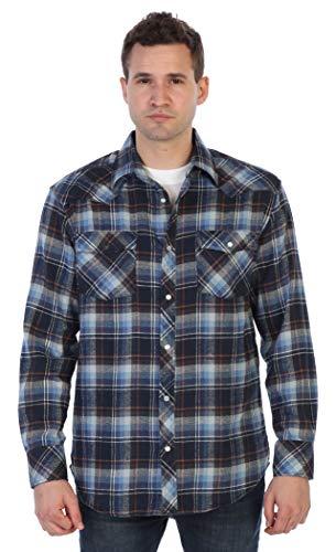 - Gioberti Men's Long Sleeve Western Flannel Shirt w/Snap Button, Navy/Blue / Orange Highlight, Large