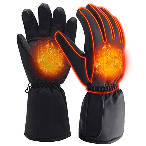 Winter Warm Gloves for Cold Weather Men Women Electric Heated Gloves Rechargeable Battery Powered Snow Ski Gloves Mittens Waterproof Cycling Hunting Motorcycle Gloves TouchScreen Outdoor Hand Warmer