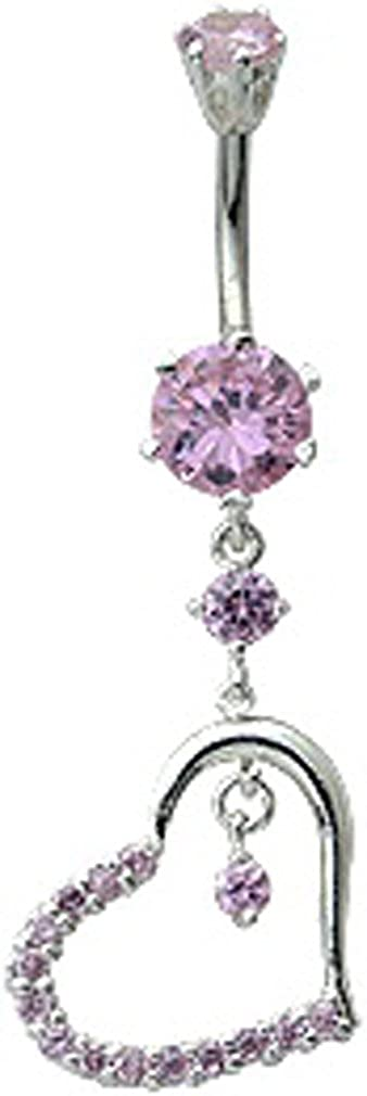 trending jewels Silver Heart Dangle Belly Button Ring with CZ Crystal Stone