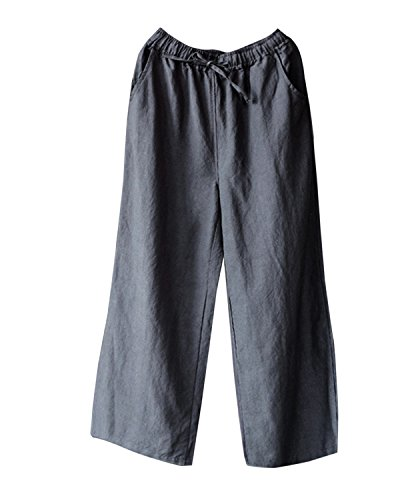 IXIMO Women's Wide Leg Pants Retro Cotton Linen Straight Drawstring Elastic Waist with Pockets (Cotton Elastic Leg)