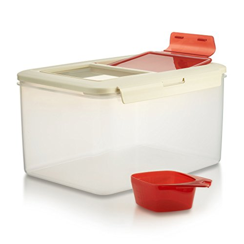 Komax Biokips Large (11.5L) Fresh Grain Dry Food Plastic Storage Container With Locking Lid u0026 Measuring Scoop (1 cup) For Rice Flour u0026 Pet Food BPA FREE  sc 1 st  Amazon.com & Big Plastic Containers with Lids: Amazon.com