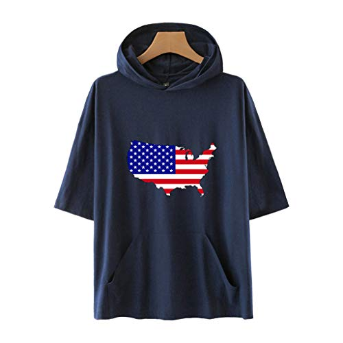 Sanyyanlsy Women's Cotton Independence Day Hooded Stars and Stripes Pocket Plus Size Backless Half Sleeve Blouse T-Shirt Navy