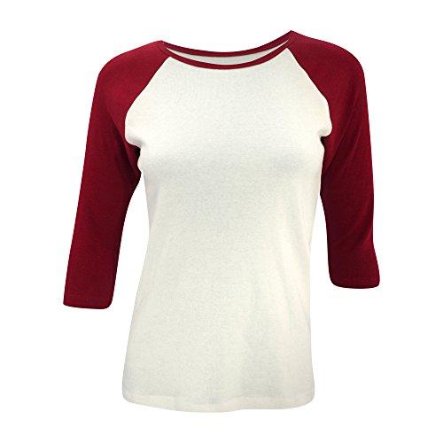 Bella Canvas- Camiseta de mangas 3/4 para chica/mujer Blanco/Rojo