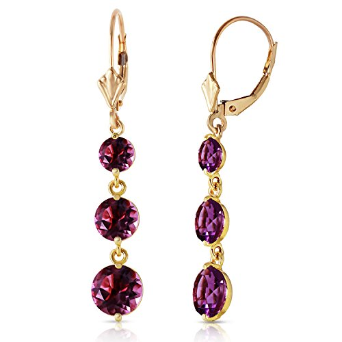 14k Yellow Gold Chandelier Earrings with 7.2 Carat (CTW) Natural Purple Amethysts