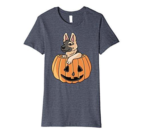 Womens Halloween German Shepherd Shirt - Cute Dog Costume Idea Small Heather Blue (Small Dog Halloween Costumes Ideas)