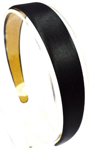 1 Inch Wide Satin Headband (Black)