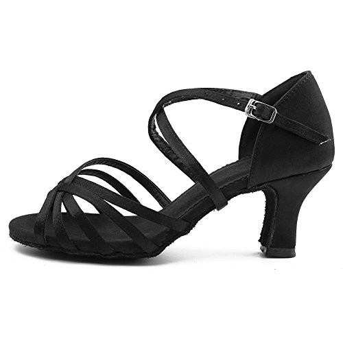 WZJCL Latin Shoes Roymall 2 Black Shoes Tango Dance Women's Satin 7CM Performance Model Salsa Ballroom wZq1PC