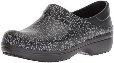 Crocs Women's Neria Pro II Graphic Clog | Slip Resistant Work and Nursing Shoe, Black/Dots, 7 M US