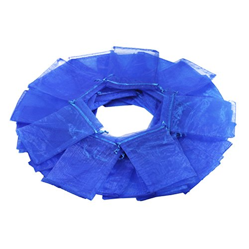 Sapphire Bag - 100Pcs 4x6 Inches Sheer Drawstring Organza Jewelry Pouches Wedding Party Christmas Favor Gift Bags (Sapphire Blue)