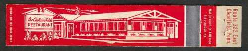 The Captain's Table Restaurant Route 322 East Clearfield PA matchcover