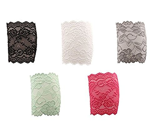 (Sell4Style 5 pair Stretch Lace Trim Boot Leg Cuffs Soft Laced Boot Socks)