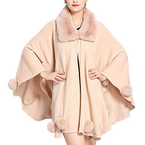 Bavero Autunno Cape Grande Liulife Pelliccia Maglia Palla Inverno Mantello Pink Scialle Delle pelliccia Collare Poncho Di Donne Eco Cappotto xYzqOzdw