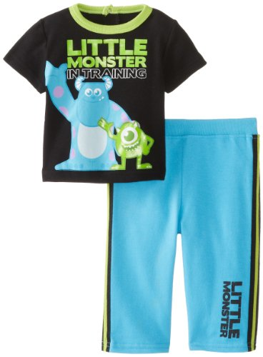 [Disney Baby Boys'  Monsters 2pc French Terry Pant Set, Blue/Black Multi, 6-9 Months] (Baby In Monsters Inc)