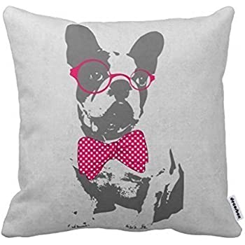 Decorbox Cute Funny Trendy Vintage Animal French Bulldog Pillow Home Style Cotton Decorative Couple Throw Pillow Cover Cushion Case Couple Pillow Case