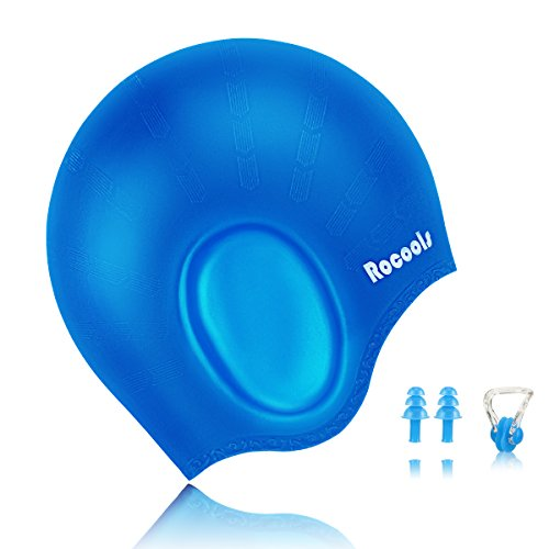 Design Womens Cap (Rocools Waterproof Silicone Swimming Cap For Long Hair Keeps Hair with 3D Ergonomic Design Ear Pockets for Adult Woman and Men with Nose Clip & Ear Plugs (Blue))