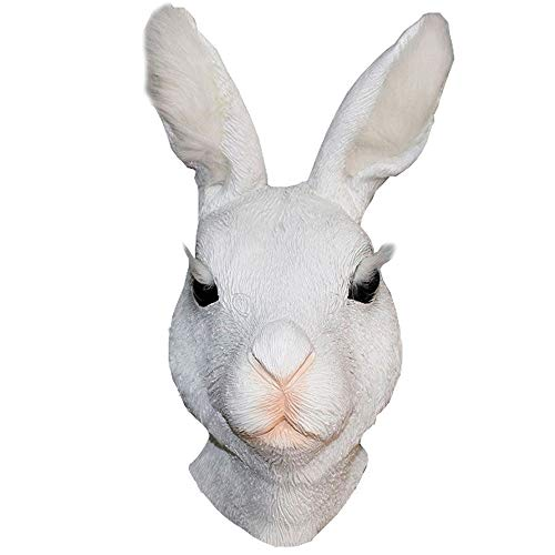 Novelty Rabbit Mask Animal Bunny Latex Mask Adult Rabbit Head Rubber Realistic Halloween Costume Rabbit Fancy Dress Up Cosplay Party White -