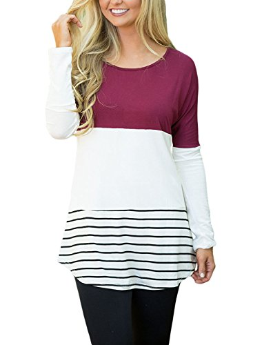 FARYSAYS Women's Color Block Striped Crewneck