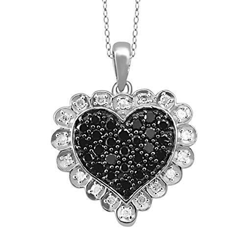 JewelExcess 1/2 Carat T.W. Black and White Diamond Sterling Silver Heart Pendant ()