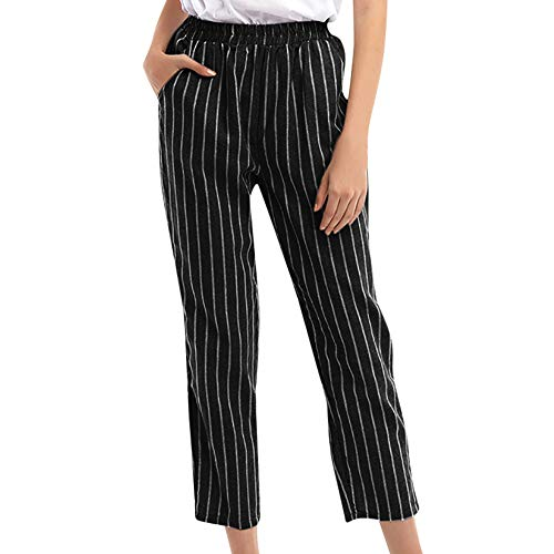 JOFOW Womens Wide Leg Pants Striped High Waisted Cropped Elastic Band Casual Loose Pencil Trousers Pocket (Black,XL)
