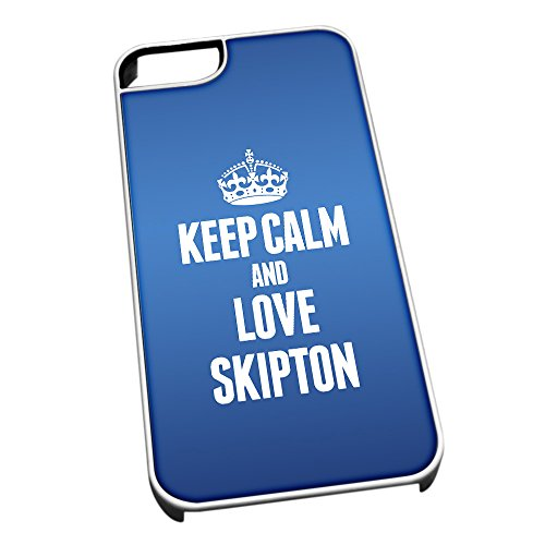Bianco cover per iPhone 5/5S, blu 0581 Keep Calm and Love Skipton