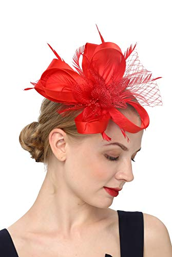 Women's Fascinators Hat Hair Clip Feather Wedding Headware Bridal 1920s Headpiece (S4-red)