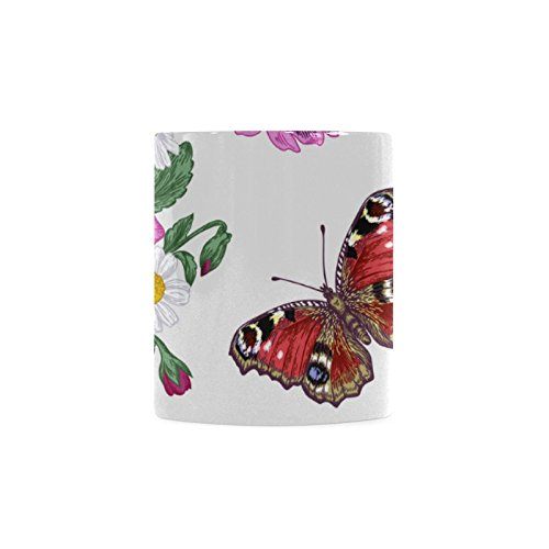 Butterfly White Ceramic Coffee Mug Tea - India X Glasses Ray In