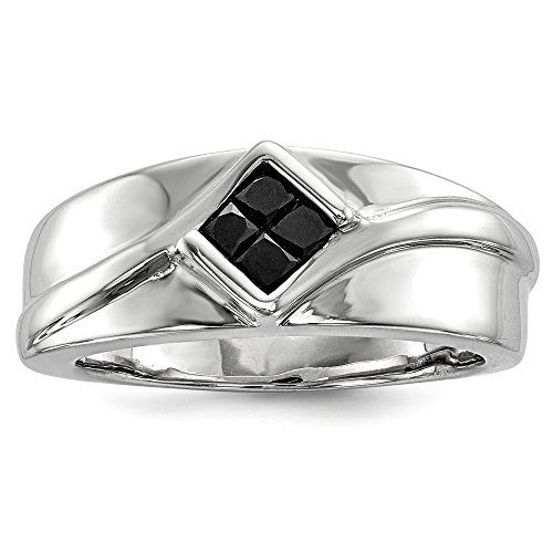 0.38 Ct Princess Diamond (Sterling Silver Princess Cut Black Diamond Wedding Band Ring for Men Size 11 (0.38ct))