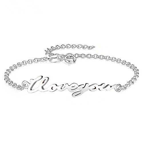 Sterling Silver Personalized Name Bracelet and Anklet Charm for Women Girls White Gold Plated Custom Made with Any Names Birthday Gift for Her (Silver) by MissNity