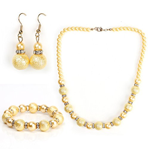 ish Gold Faux Pearl Set - Graduated Necklace, Drop Earrings and Coordinating Bracelet with Swarovski Style Crystals ()