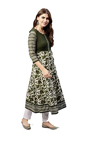 Women Olive Green & Off-White Printed Anarkali Cotton Kurta 3\4 sleeve By Dream Angel Fashion (Medium-36)