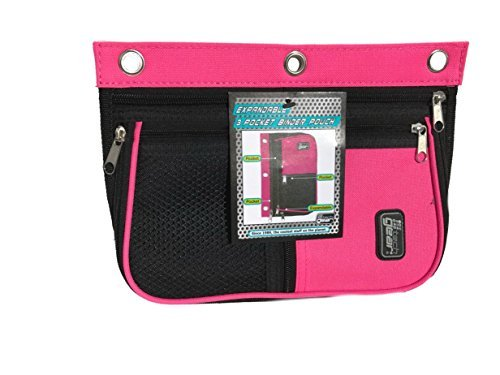 3 Pocket Expandable Binder Pouch (pink)