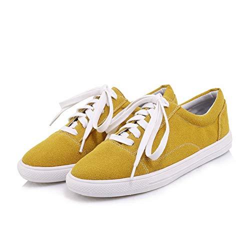Dépolissement Jaune Chaussures Lacet Légeres AgooLar Talon Couleur Unie Femme GMBDB013289 à Bas 5Wwx1PS78q