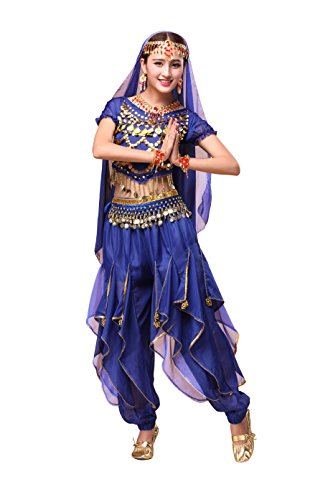 Feimei Woman Exotic Jasmine Belly Dance Costume Set With Halter Top and Harem Pants (Dark (Ladies Belly Dance Costumes)
