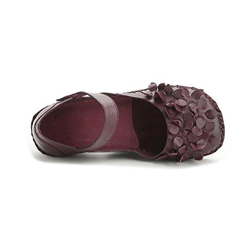 L@YC® Zapatos Planos De Las Mujeres De Cuero Hechas a Mano Sandalias Suaves Fondo De La Bomba De Raso De La Boda Fiesta De Oficina Purple