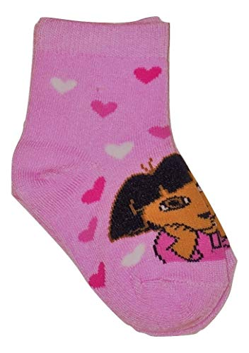 Dora the Explorer Ankle Sock ~ Size 2-4, Shoe Size 4-7; Hearts on Pink