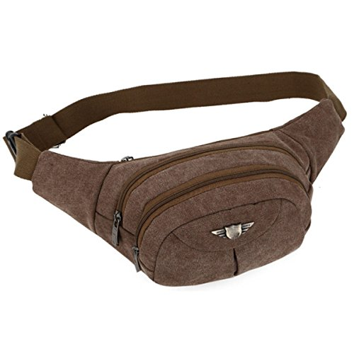 Fashion Bag Large brown Pockets Men Capacity Brown Canvas Casual UapwXp