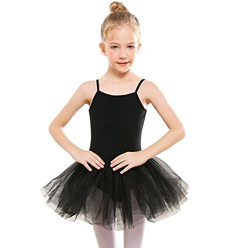 STELLE Girls' Camisole Tutu Dress for Dance, Gymnastics&Ballet (Toddler/Little Kids/Big Kids)(130, Black) by STELLE