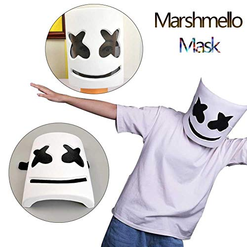 DJ Marshmello Helmet Music Festival Light Up Marshmallow Mask Halloween Novelty Costume Party Cosplay Mask Rubber Latex Mask ()