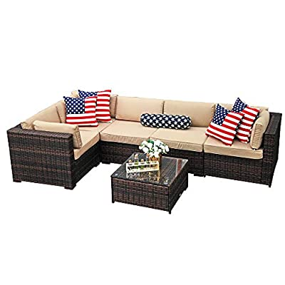 PATIOROMA Outdoor Furniture Sectional Sofa Set (6-Piece Set) All-Weather Brown Wicker Sectional Furniture with Beige Cushions &Glass Coffee Table | Steel Frame|Brown PE Wicker - Seat Clips--- seat clips for the underside of the sofa pieces to keep them from moving; Two clips are recommended between two the sofa pieces Easy to Clean & Upgraded Comfort - Comes with 4-inch thick lofty sponge padded seat cushions and back cushions for more comfort and relaxation; Cushion covers remove with a quick zip and are machine washable;Cushions are non waterproof Elegant Glass Coffee Table- Removable tempered glass on the table adds more convenience to clean after use and a sophisticated touch as well - patio-furniture, patio, conversation-sets - 41gqWEspdgL. SS400  -
