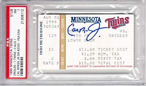 - Cal Ripken Autographed Signed 2000 Consecutive Game Ticket PSA/DNA Graded PSA 7 Orioles - Authentic Memorabilia
